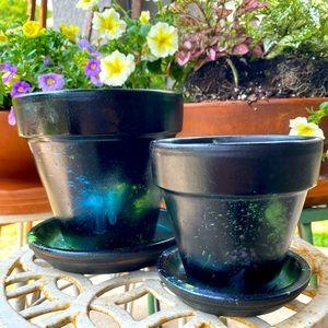 Handmade Set Of 2 Terracotta Planters Star Nebula